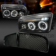2006-2010 Dodge Charger Halo LED Black Projector Headlights+Black Hood Grille