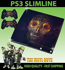 PLAYSTATION PS3 SLIM STICKER ABSTRACT SKULL WIRE ROSES DARK SKIN & 2 PAD SKINS