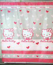 Hello Kitty Face & Heart Shape Pattern Milky Plastic 180 x 180 cm SHOWER CURTAIN