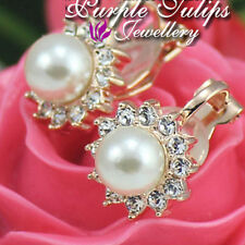 18CT White/Rose Gold Plated Pearl Clip_on Earrings Made With Swarovski Crystal