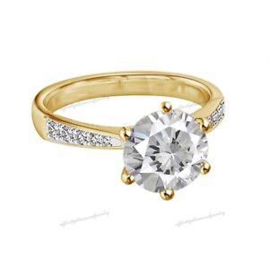 1 Ct Moissanite Diamond Engagement Ring Round 9K 9Ct Yellow Gold Bridal Jewelry