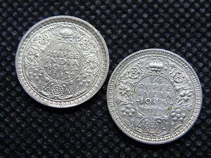 BRITISH INDIA - SILVER KING GEORGE VI 1/4 RUPEE COINS x 2  (SA01)