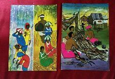 1980s Singapore Batik painting postcard x2 diff  unused! Group a