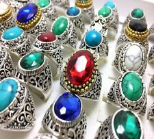 30X Silver Plated Stone Rings tribe Couples Jewelry Men Women ring wholesale