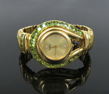 Rare Paolo Gucci 12.5ct Peridot Gemstone & Diamond 18K Yellow Gold Lady's Watch