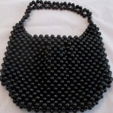 Handbag Black Beaded Vintage Women's Purse Made in Japan 9 1/2 x 7