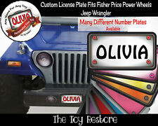 Personalized License Plate Decal Sticker Fits Fisher Price Power Wheels Jeep