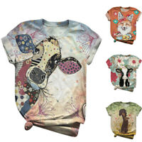 Plus Size Women Short Sleeve 3D Animal Printed O-Neck Tops Tee T-Shirt Blouses