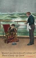 VINTAGE COMIC BAMFORTH MAN SICK on CRUISE SHIP OFFERED PORK for DINNER POSTCARD