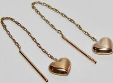 Macizo 9 Ct Oro Amarillo Pendientes De Diseño De Corazón-tire a través de