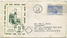 STAMP EXHIBITION 1950 USA MAINE PHILATELIC CONGRESS SHEET on COVER