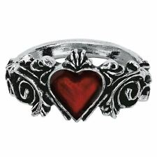 Alchemy Gothic Betrothal Crystal and Pewter Fashion Ring - Heart 5 Sizes