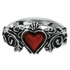 Estaño alquimia gótica Naka esponsales y Cristal Moda Anillo-Corazón 5 Tamaños