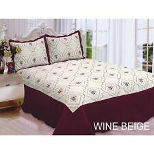 Embroidered Quilt Set Queen Size 3 Piece Bedspread Coverlet Wine Cherry Beige