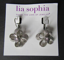 T2 Lia Sophia Jewelry Flower Silver Plated Earrings