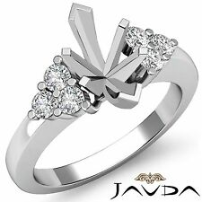Natural Round Diamond 3Stone Marquise Mount Engagement Ring 18k White Gold 0.3Ct