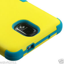 Samsung Galaxy Note 3 Hybrid T Armor Case Skin Cover Yellow Teal Blue