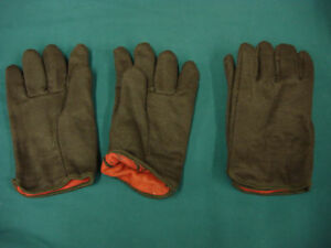 Men's Very Nice Lined Brown Cotton Work Gloves 2 Pair