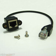 rj45 Male to Female panel mount Ethernet LAN Network extension Cable 30cm +Screw