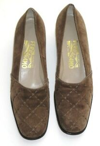 SALVATORE FERRAGAMO SHOES BROWN SUEDE DQ73006 A38 8 2A Made in ITALY