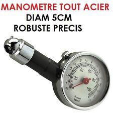 CAMPING CAR CARAVANE! ROBUSTE & PRECIS MANOMETRE TOUT ACIER 5CM AVEC DEGONFLEUR
