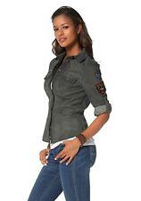 X0188a KangaROOS Damen Bluse Jeans Style (38 Grün)