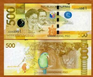 Philippines, 500 Piso, 2014, P-210a, Ch UNC > Ink on the upper margin
