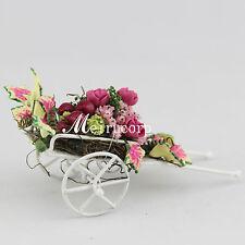 1:12 scale dollhouse decoration miniature flower gorgeous flower cart