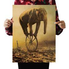US Seller-bedroom decorating ideas elephant kraft paper retro poster