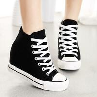 Womens Canvas Hidden Wedge High-Top Lace Up Sneakers Shoes New Fashion Size US