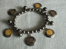 Beautiful Stretch Bracelet Silver Tone Gold Cabochons in Charms CUTE