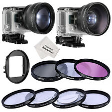 Neewer 52mm 2x TELEPHOTO + 0.45x WIDE ANGLE LENS + FILTER KIT+ LENS ADAPTER
