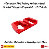 Milwaukee 18V M18 Dual battery Holder Mount Bracket Storage RED UV STABLE