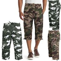 MENS ELASTICATED 2 IN 1 ARMY CAMO 3/4 SHORTS ZIP OFF COMBAT CARGO PANTS BOTTOMS
