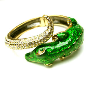 Anna Dello Russo Crystal Crocodile Bangle Bracelet~Stunning~