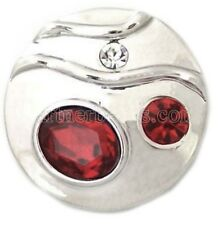 Silver Red Rhinestones 20mm Snap Charm Interchangeable For Ginger Snaps