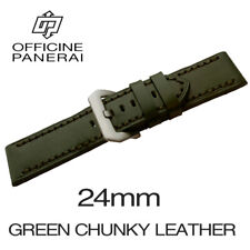 • 24mm Green Chunky Leather Bracelet / Strap With Buckle For Officine Panerai •