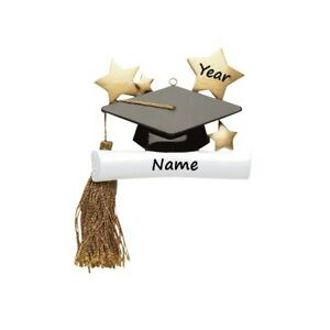 PERSONALIZED Christmas Ornament Graduation Cap & Diploma 2021 Graduate Keepsake