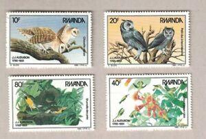 VINTAGE 1987 RWANDA J.J. AUDUBON BIRDS OWLS PLANTS STAMP MNH