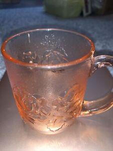 Vtg Pink Glass W/ Floral Cutout Arcoroc Rosaline France Glass Mug Coffee Tea Cup