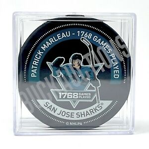 1768 Games Played Record Warm Up Puck f/ PATRICK MARLEAU in Sharks Jersey