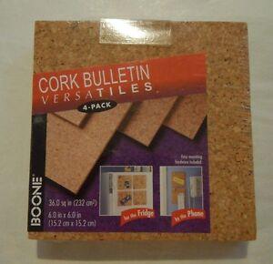 "Boone Cork Bulletin Versatiles - 4 Pack - 6"" x 6"" - NEW IN PACKAGE"