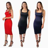 Womens Pencil Midi Bodycon Dress Square Neck Panelled Sexy Zip Party Evening