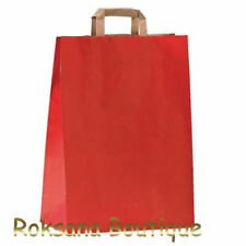 LOT 50 SACS PAPIER KRAFT POIGNEES PLATES ROUGE 18 cm X 8 cm X 24 cm