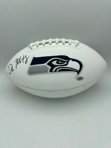DK Metcalf Signed Seattle Seahawks White Panel Football Full Size COA Hologram