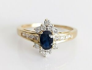Vintage 1993 18ct Gold Sapphire & 0.25ct Diamond Cluster Engagement Ring UK O