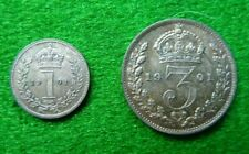 More details for 2 x 1901 victoria maundy coins - penny & threepence - ef+ - toned