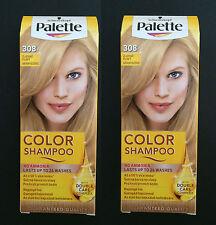 2 Schwarzkopf Palette Color Shampoo 308 Light Gold Blond Demi-Permanent Hair Dye