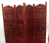 Elephant Design Hand Carved Indian 4 Panel Screen / Room Divider / Mango Wood P4