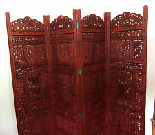 Elephant Design Hand Carved Indian 4 Panel Screen / Room Divider / Mango Wood P4